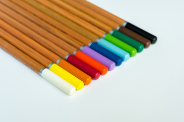 Wooden pencils of different colors