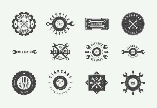 Set of vintage mechanic label, emblem, badge and logo. Vector illustration. Graphic Art