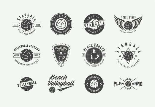 Set of vintage volleyball labels, emblems and logo. Vector illustration. Graphic Art. Vector.