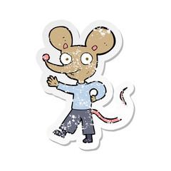 retro distressed sticker of a cartoon waving mouse