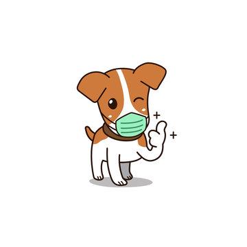 Vector cartoon cute dog wearing hygienic mask for design.