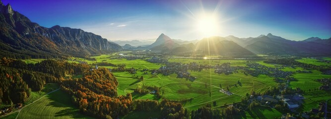 Tyrol tirol ebbs pano panorama sun sonne green