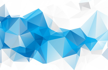 Blue White geometric rumpled triangular low poly origami style gradient illustration graphic background. Vector polygonal design for your business.