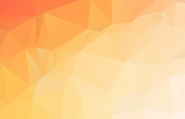 Bright orange low polygonal crystal background. Triangular polygon pattern. Low poly vector illustration. Low polygonal backdrop