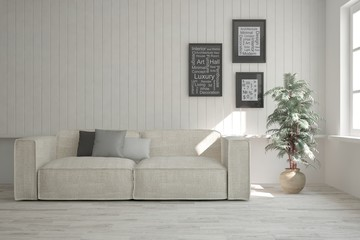 White stylish minimalist room with sofa. Scandinavian interior design. 3D illustration