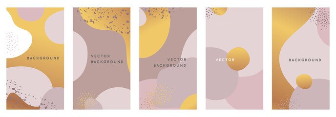 Vector set of abstract creative backgrounds in minimal trendy style with copy space for text - design templates for social media stories and bloggers Fototapete