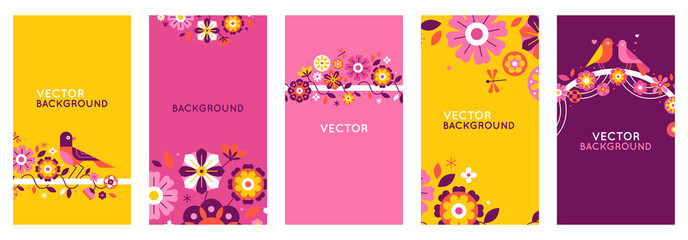 Vector set of abstract creative backgrounds in minimal trendy style with copy space for text and geometric flowers - design templates for social media stories and posts - simple, stylish designs for i