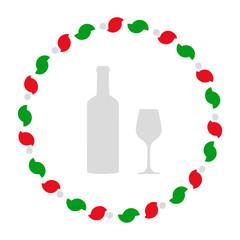 Weinglas und Kranz