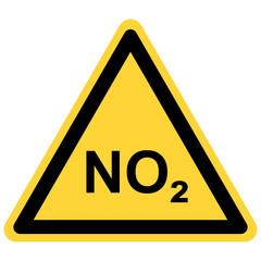NO2  und Warnschild