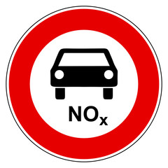 NOx Auto und Verbotsschild