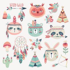 Fototapete - Cute Woodland boho tribal characters, rabbit, owl, sloth, panda,bear.