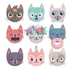 Wall Mural - Cute kittens. Characters with different emotions - joy, anger, happines and others.
