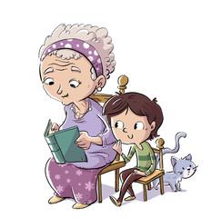 abuela con niño y gato leyendo un libro