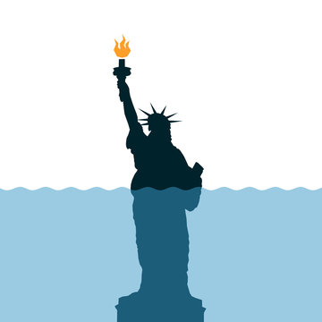 Sea level is rising around Statue of Liberty - global warming and climate chnage / metaphor of deterioration, decay and failure of United States of America ( USA ). Vector illustration