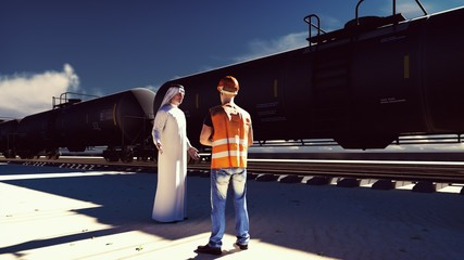 Oil worker and Arab Sheikh talking on the background of a passing Rail tank cars with oil. 3D Rendering