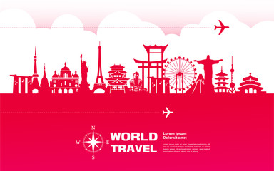 Fototapete - Travel around The World vector illustration.