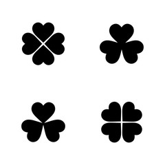 Flat monochrome clover leaf icon set for web sites and apps. Minimal simple black and white clover leaf icon set. Isolated vector black clover leaf icon set on white background.
