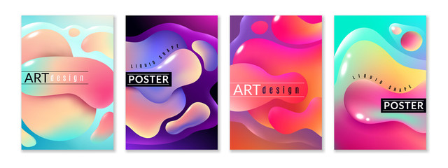 Liquid shape poster. Abstract fluid free shapes color flux minimal paint spots dynamic forms graphic modern background