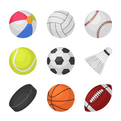 Ball games. Sports kids ball volleyball baseball tennis football soccer bambinton hockey basketball rugby balls vector