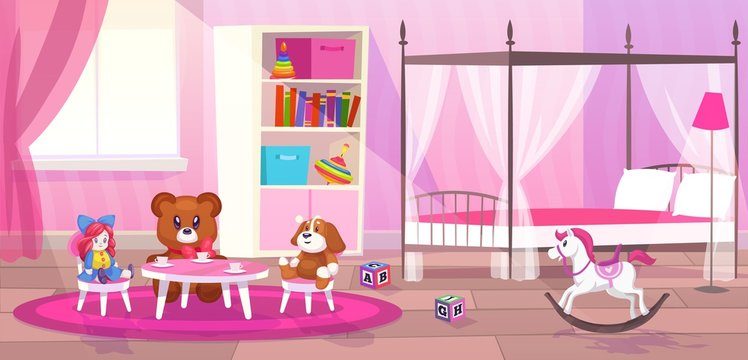 Bed room girl. Child bedroom interior girls apartment toys girly storage decor furniture kid playroom flat cartoon