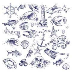 Hand drawn marine set. Sea ocean voyage lighthouse shark crab octopus starfish knot crab shell lifebuoy collection