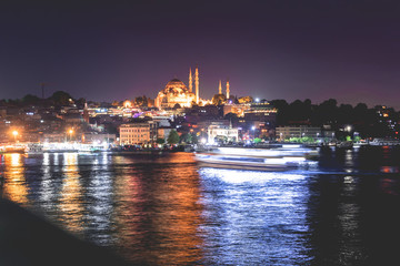 night photo of Golden horn in Istanbul