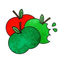 retro grunge texture cartoon apples