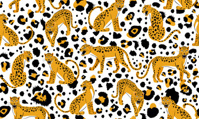 Leopard seamless pattern. Composition with snarling leopards and leopard dots isolated on white background. Vector illustration for textile, postcard, fabric; wrapping paper, background, packaging.