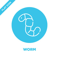 worm icon vector. Thin line worm outline icon vector illustration.worm symbol for use on web and mobile apps, logo, print media.