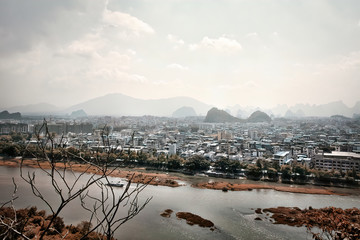 View of the charming city of Guilin from the Fubo Hill, China.