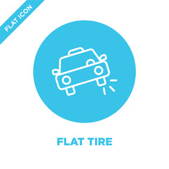 flat tire icon vector. Thin line flat tire outline icon vector illustration.flat tire symbol for use on web and mobile apps, logo, print media.