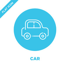 car icon vector. Thin line car outline icon vector illustration.car symbol for use on web and mobile apps, logo, print media.
