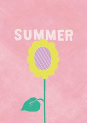 ピンクの背景と抽象的なひまわりの夏のイラスト
