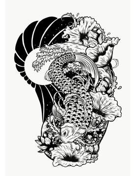 Carp fish with lotus vector tattoo by hand drawing.Beautiful fish on white background.Black and white graphics design art highly detailed in line art style.Koi fish for tattoo or wallpaper.