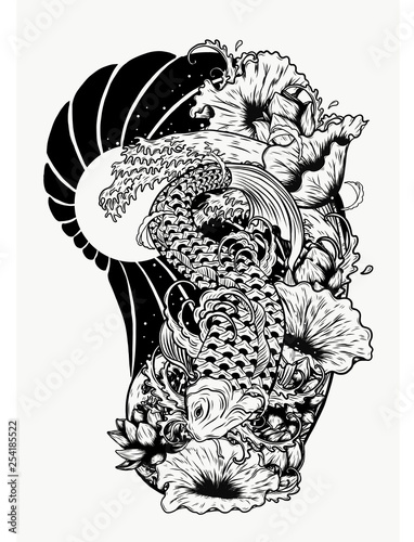 cdf6b878e11f9 Carp fish with lotus vector tattoo by hand drawing.Beautiful fish on white  background.Black and white graphics design art highly detailed in line art  style.