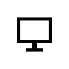 Flat monochrome monitor icon for web sites and apps. Minimal simple black and white monitor icon. Isolated vector black monitor icon on white background.