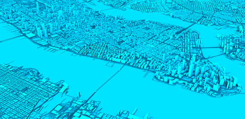 Satellite view of New York city, map, 3d buildings, 3d rendering. Streets and skyscrapers of Manhattan. Usa