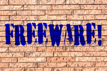 Handwriting text Freeware. Conceptual photo Software Application that is available for use at no monetary cost Brick Wall art like Graffiti motivational call written on the wall