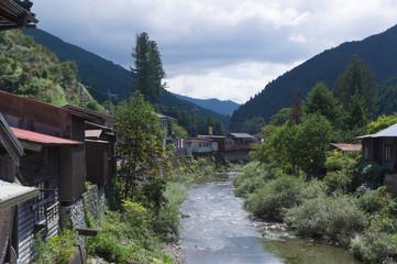 River close to Dorogawa Onsen in the Mitarai ravine Nara,Japan.