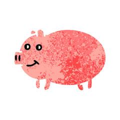 retro illustration style cartoon pig