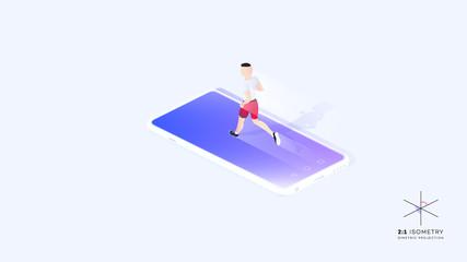Man Running On Mobile Phone Screen. Conceptual Cardio Training Isometric Illustration.