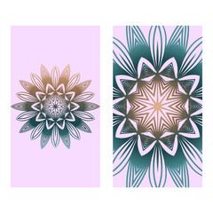 Collection Card With Relax Mandala Design. For Mobile Website, Posters, Online Shopping, Promotional Material. Romantic color