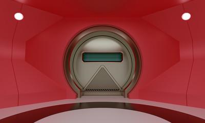 Futuristic round metallic door in red room wall