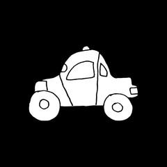 Linear cartoon hand drawn car. Cute vector black and white car doodle. Isolated monochrome car object on black background.