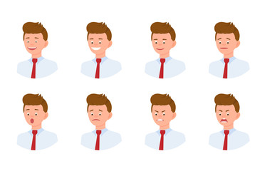 Emotional face 3/4 view cartoon character young office man design set. Happy, smiling, upset, surprised, sad, angry, shouting person flat concept on white background - Vector