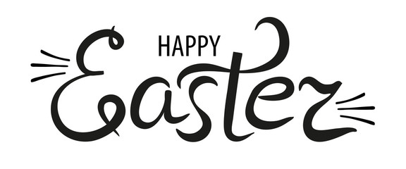 Happy Easter lettering logo. Hand drawn black and white calligraphy phrase isolated on white background. Vector