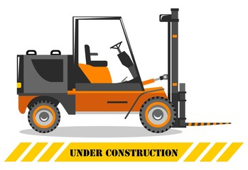 Forklift. Heavy construction machine. Building machinery. Special equipment. Vector illustration.