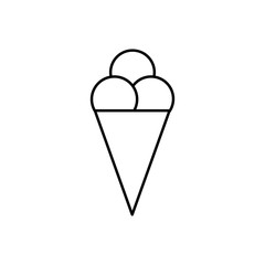Flat line monochrome ice cream silhouette for web sites and apps. Minimal simple black and white ice cream silhouette. Isolated vector black ice cream silhouette on white background.