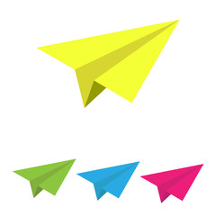Set of colored paper airplanes for design