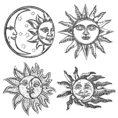 Set of hand drawn art sun and crescent moon with human face. Flash tattoo design. Antique style design, isolated on white background. Vector